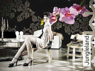Jungleland-Blumen-Moderne-Muster-Grau-Schwarz-Pink
