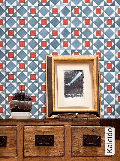 Kaleido-Stein-Kachel-Retro-Muster-Rot-Grau-Weiß