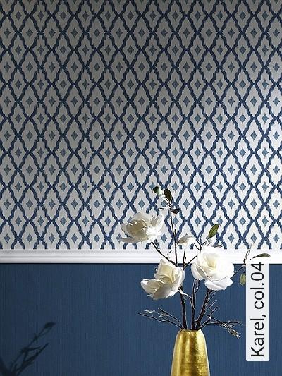 Karel,-col.04-Rauten-Textil-&-NaturTapeten-Blau-Grau-Weiß