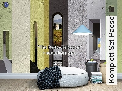 Komplett-Set-Paese-Landschaft-Gebäude-Wolken-Moderne-Muster-Multicolor