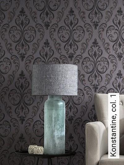Konstantine,-col.-1-Rauten-Klassische-Muster-Textil-&-NaturTapeten-Braun-Anthrazit-Creme