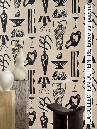 LA-COLLECTION-DU-PEINTRE,-Encre-sur-papyru-Gegenstände-Moderne-Muster-Schwarz-Creme