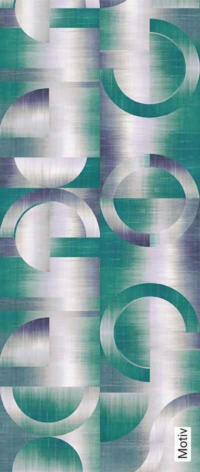 LEONARDO-TEAL,-col.-2-Kreise-Farbverlauf-Moderne-Muster-Grafische-Muster-Grün-Blau-Creme