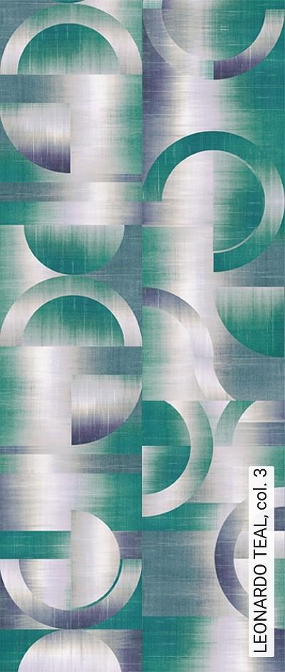 LEONARDO-TEAL,-col.-3-Kreise-Farbverlauf-Moderne-Muster-Grafische-Muster-Grün-Blau-Creme