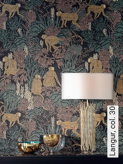 Langur,-col.-30-Tiere-Blätter-Äste-Fauna-Florale-Muster-Braun-Creme-Ocker