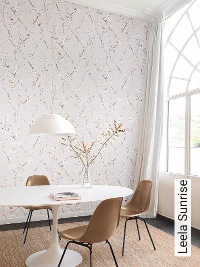 Leela-Sunrise-Blumen-Äste-Florale-Muster-Braun-Bronze-Weiß-Creme