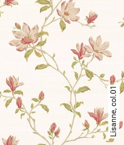 Lisanne,-col.01-Blumen-Blätter-Äste-kl.-Blümchen-Florale-Muster-Gelb-Rosa-Hellgrün-Creme
