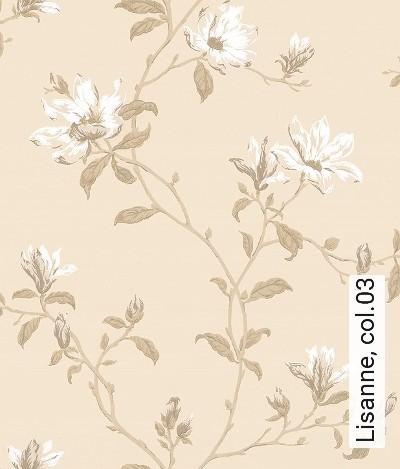 Lisanne,-col.03-Blumen-Blätter-Äste-kl.-Blümchen-Florale-Muster-Gold-Weiß-Creme-Hellbraun