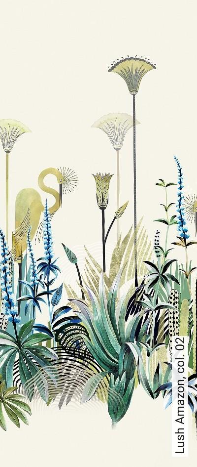 Lush-Amazon,-col.-02-Blumen-Tiere-Landschaft-Blätter-Vögel-Fauna-Florale-Muster-Moderne-Muster-FotoTapeten-Multicolor