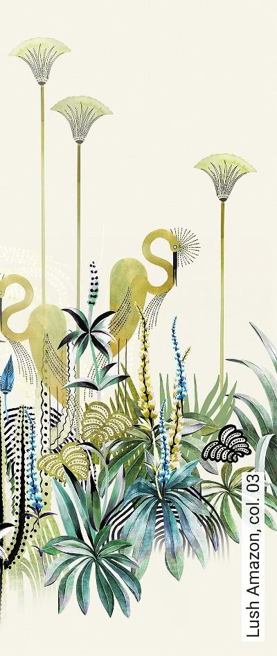 Lush-Amazon,-col.-03-Blumen-Tiere-Landschaft-Blätter-Vögel-Fauna-Florale-Muster-Moderne-Muster-FotoTapeten-Multicolor