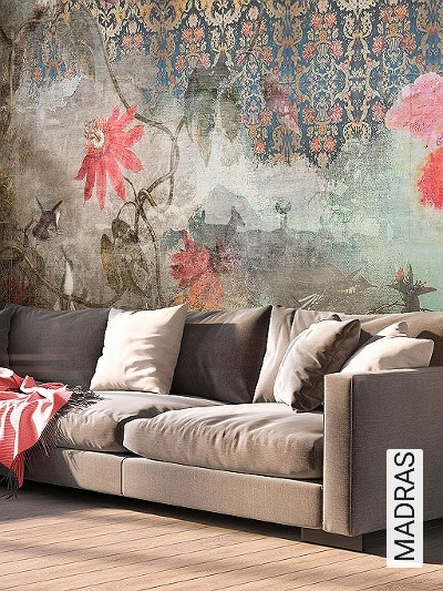 MADRAS-Blumen-Tiere-Blätter-Teppich-Collage-Fauna-Florale-Muster-FotoTapeten-Multicolor