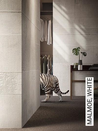 MALMOE,-WHITE-Text-Stoff-Moderne-Muster-FotoTapeten-Creme