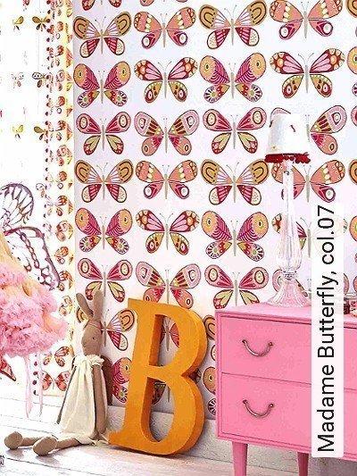 Madame-Butterfly,-col.07-Schmetterlinge-KinderTapeten-Weiß-Multicolor