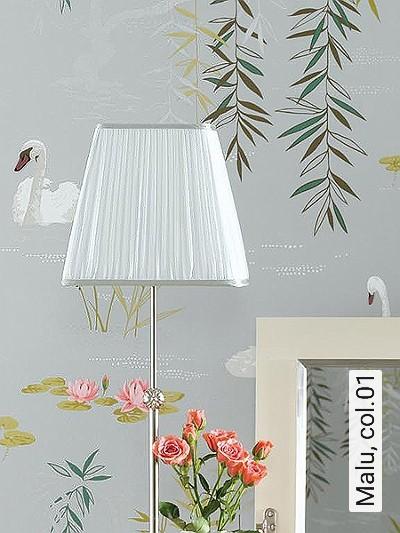 Malu,-col.01-Blumen-Tiere-Blätter-Vögel-Florale-Muster-Grün-Silber-Grau-Rosa-Weiß