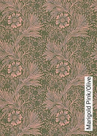 Marigold-Pink/Olive-Blumen-Blätter-Klassische-Muster-Florale-Muster-Grün-Rosa