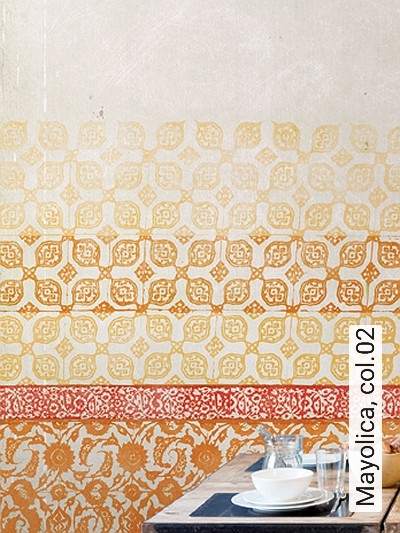 Mayolica,-col.02-Streifen-Ornamente-Patina-FotoTapeten