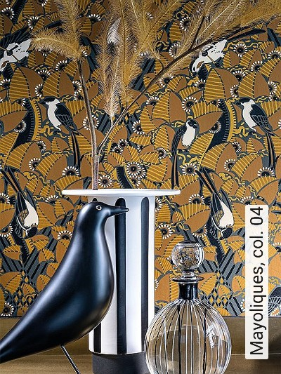 Mayoliques,-col.-04-Blumen-Tiere-Blätter-Vögel-Jugendstil-Gold-Anthrazit-Weiß-Ocker