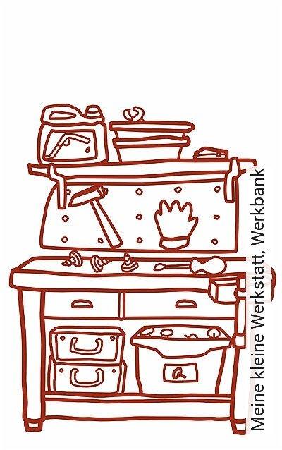 Meine-kleine-Werkstatt,-Werkbank-KinderTapeten-Rot