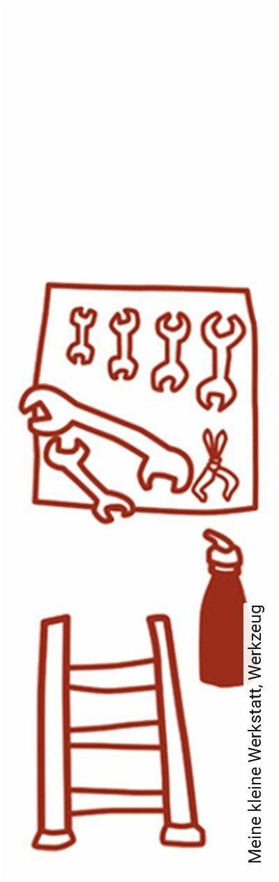 Meine-kleine-Werkstatt,-Werkzeug-KinderTapeten-Rot