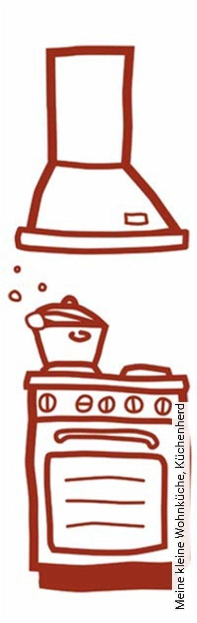 Meine-kleine-Wohnküche,-Küchenherd-KinderTapeten-Rot
