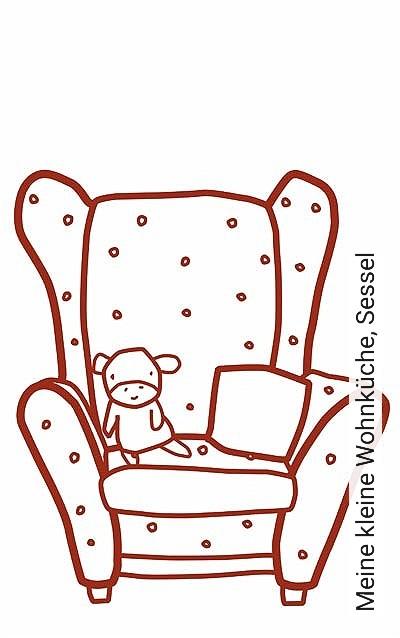Meine-kleine-Wohnküche,-Sessel-KinderTapeten-Rot