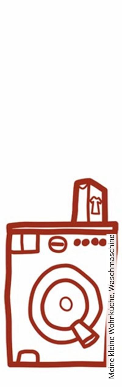 Meine-kleine-Wohnküche,-Waschmaschine-KinderTapeten-Rot