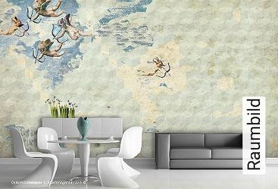 Memory-of-Galatea-Figuren-Quadrate/Rechtecke-Wolken-Moderne-Muster-FotoTapeten-Blau-Creme-Hellblau