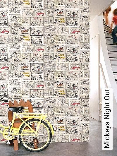 Mickeys-Night-Out-Patina-Comic-KinderTapeten-Gelb-Schwarz-Hellbraun