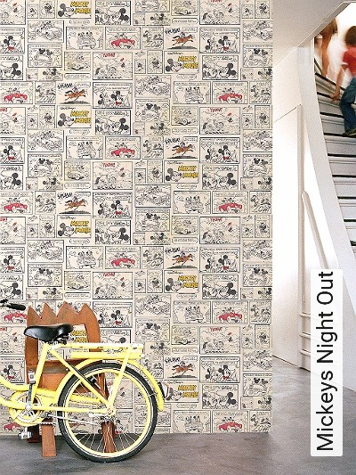 Mickeys-Night-Out-Patina-Comic-KinderTapeten-Rot-Gelb-Schwarz-Hellbraun