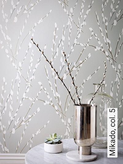 Mikado,-col.-5-Blumen-Äste-Florale-Muster-Gold-Grau-Weiß