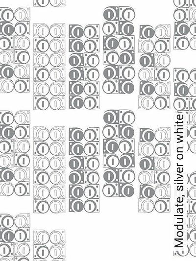 Modulate,-silver-on-white-Kreise-Formen-Moderne-Muster-Silber-Weiß