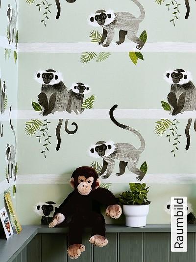 Monkey-bars,-col.-1-Tiere-Fauna-KinderTapeten-Grün-Anthrazit-Weiß