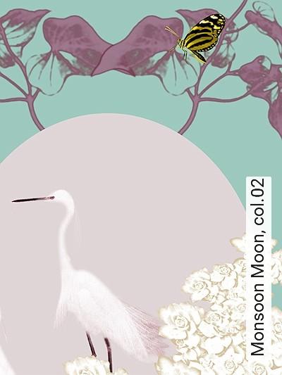 Monsoon-Moon,-col.02-Blumen-Tiere-Blätter-Florale-Muster-Hellgrün-Multicolor
