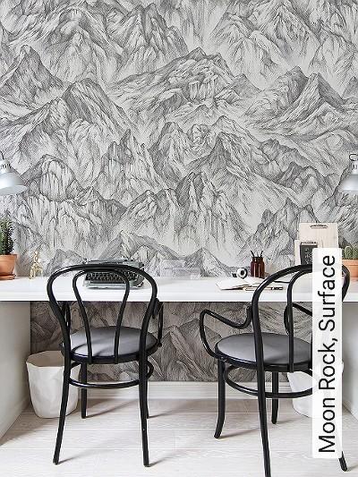 Moon-Rock,-Surface--Berge-Moderne-Muster-FotoTapeten-Anthrazit-Creme