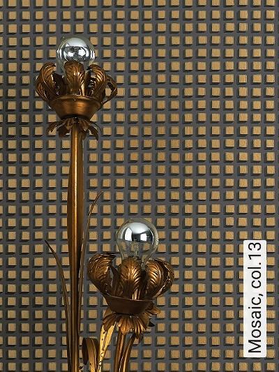 Mosaic,-col.13-Quadrate/Rechtecke-Graphisch-Grafische-Muster-Gold-Grau-Anthrazit