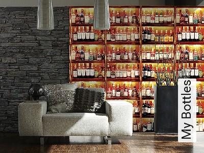 My-Bottles-Flaschen-FotoTapeten-Rot-Braun