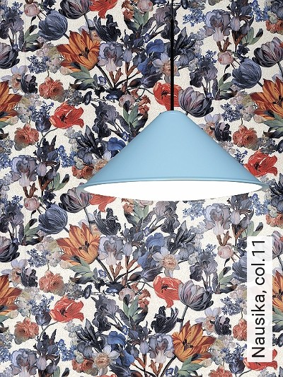 Nausika,-col.11-Blumen-Florale-Muster-Rot-Blau-Creme-Hellbraun