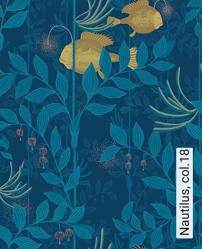 Nautilus,-col.18-Blätter-Unterwasserwelt-Fische-Fauna-Moderne-Muster-Braun-Bronze