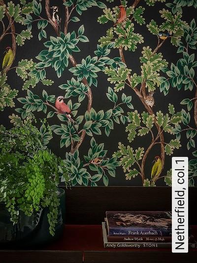 Netherfield,-col.1-Tiere-Blätter-Vögel-Äste-Fauna-Florale-Muster-Multicolor