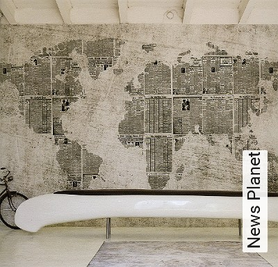 News-Planet-Kachel-Welt-Zeitung-Moderne-Muster-Anthrazit-Creme