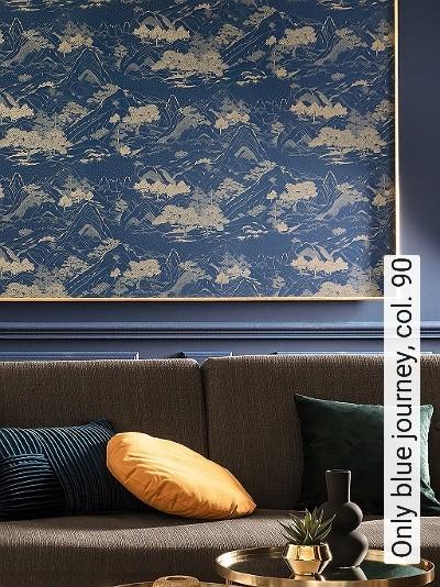 Only-blue-journey,-col.-90-Landschaft-Asia-Berge-Moderne-Muster-Blau-Gold