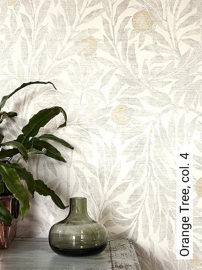 Orange-Tree,-col.-4-Blätter-Früchte-Florale-Muster-Gold-Grau-Creme-Hellbraun