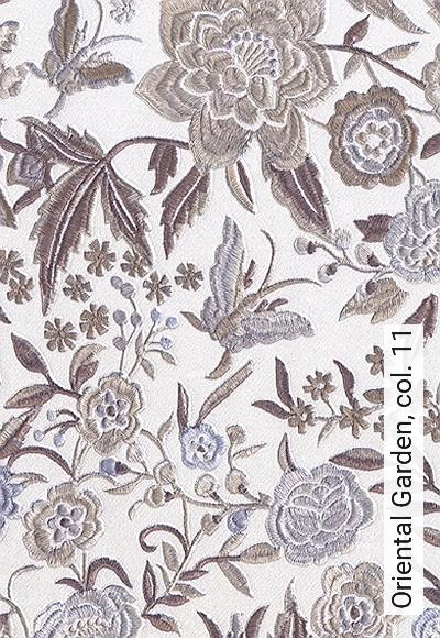 Oriental-Garden,-col.-11-Blumen-Gewebe-Stickerei-Ranken-Florale-Muster-Silber