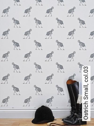 Ostrich-Small,-col.03-Tiere-Moderne-Muster-Grau-Weiß