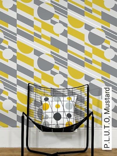 P.L.U.T.O,-Mustard-Kreise-Quadrate/Rechtecke-Retro-Muster-Grau-Anthrazit-Weiß-limette