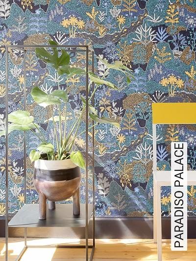 PARADISO-PALACE-Tiere-Bäume-Landschaft-Fische-Fauna-Florale-Muster-Grün-Blau-Gelb-Schwarz-Creme