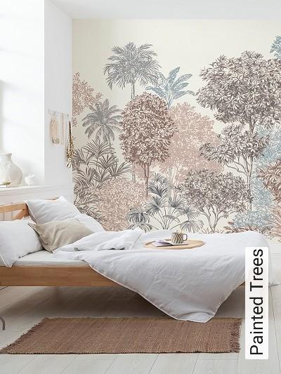 Painted-Trees-Bäume-Florale-Muster-FotoTapeten-Blau-Braun-Creme