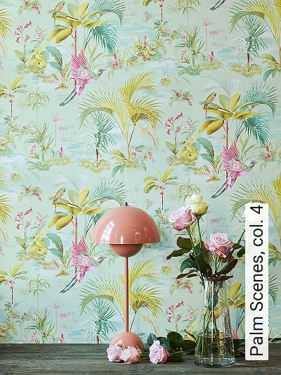 Palm-Scenes,-col.-4-Blumen-Tiere-Blätter-Vögel-Fauna-Florale-Muster-Multicolor