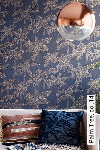 Palm-Tree,-col.14-Bäume-Florale-Muster-Orientalisch-Blau-Gold