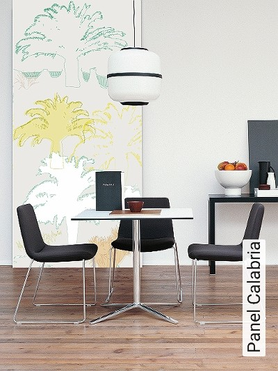 Panel-Calabria-Bäume-Florale-Muster-FotoTapeten-Grün-Gelb-Orange-Weiß-Creme